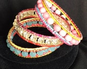 Beaded Bangle Bracelet Set of Three Seed Bead Multi-colored Bracelets - Beadwork Jewelry