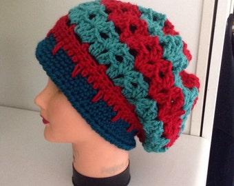 Hippie deead hat slouchy hat turquoise hat red hat crochet hat