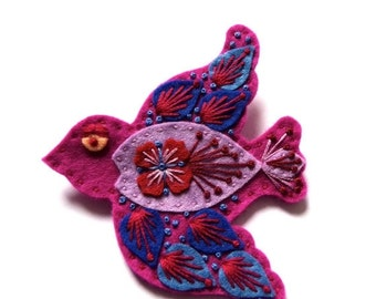 SWIFT felt brooch pin with freeform embroidery