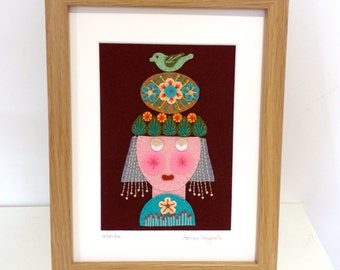 MATILDA framed original hand embroidered, unique textile folk art pictured re, wall art, home decor, Scandinavian, mid century - 18cm x 24cm