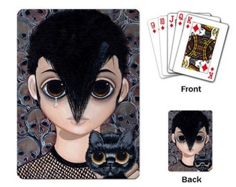 Big Eyed DANZIG with black pity kitty playing cards by Megan Besmirched