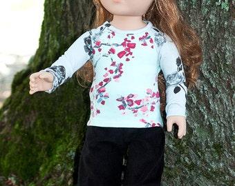 "Girl's 18"" doll clothes, doll t-shirt, doll black pants, doll hat, christmas gift, american handmade made doll outfit, grey black aqua pink"