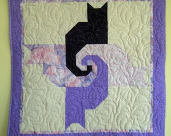 Cat wallhanging  in purples and lavender