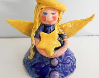 Hand Sculpted Royal Blue Ceramic Angel and Star