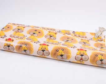 Vintage 1970s Lion Wrapping Paper Roll Yellow Lion Cute ~ The Pink Room ~ 160907