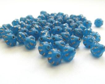 Sky Blue Saturn Czech Glass Beads with Golden Inlay, 5mm - 50 pieces