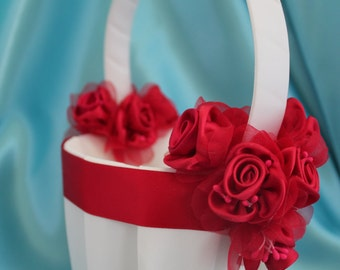 SALE-Ivory or White Flower Girl Basket with Red Ribbon and Red Satin Flowers