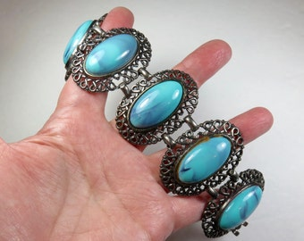 SJK Vintage -- Coro Pegasus Signed Antique Silver Filigree Wide Panel Bracelet with Marbled Turquoise Lucite Cabochons (1940's-50's)