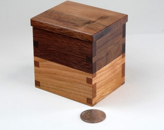 Small Lidded Box, Wooden Ring Box, Walnut, Cherry Hardwoods