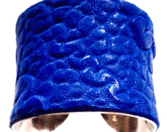 Cobalt Blue Textured Leather Silver Lined Cuff Bracelet - by UNEARTHED