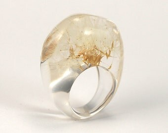 Dandelion Seeds Ring, Classic Clear Resin Ring with Dandelion Seeds