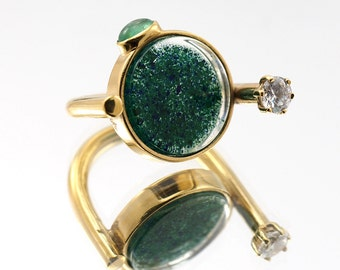 Crushed Azurite and Malachite with Synthetic Emerald and Zirconia Ring, Resin Gold Plated Sterling Silver Ring
