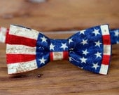 Boys American Flag bow tie - 4th of July bowtie - bow tie for infant baby toddler boy child - red cream blue bowties - Independence Day