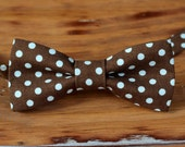 Boys brown blue bow tie, boys light blue polka dot on brown cotton bowtie, infant baby toddler child preteen kid, first birthtday bow tie