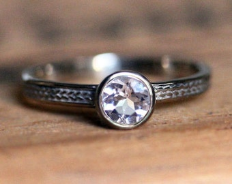 Morganite white gold ring, braided engagement ring, bezel engagement ring, morganite engagement ring, 14k white gold ring wheat ring, custom