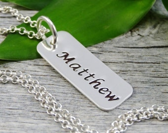 Hand Stamped Jewelry - Personalized Jewelry - Name Necklace - Sterling Silver Rectangle