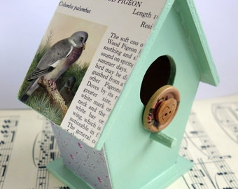 Book page decorative hand-painted wooden birdhouse, green, unsual nature / woodland home decor