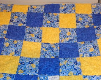 Blue and Yellow with Flowers Baby Toddler Patchwork Handmade Quilt