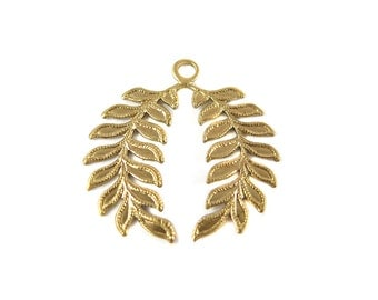 Brass Olive Branch Charms (6X) (M846)