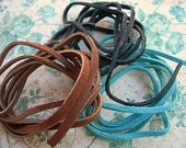Vintage Scrap Leather Flat Lace Cord 1 yard each of 3 colors TURQUOISE BROWN and BLACK 3 yards total