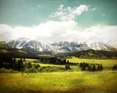 """landscape, landscape photograph, mountains, large art, large wall art, sky, clouds, canvas art, large canvas art, nature - """"The Bridgers"""""""