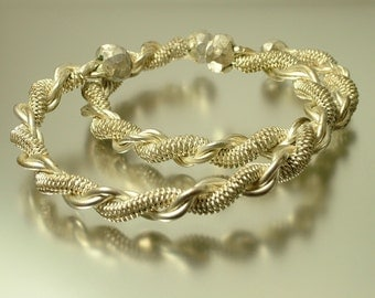 Vintage/ estate Indian enthic silver tone tribal twisted costume bangle/ bracelets - jewelry / jewellery