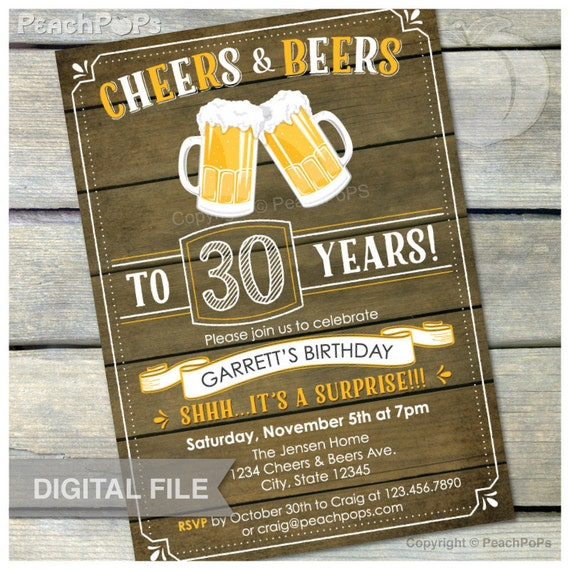 Surprise 30th Birthday Invitation Cheers & Beers Invite Rustic
