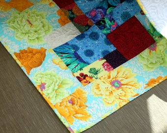 "SUN KISSED  Lap Quilt Throw Blanket Drop Dead Gorgeous Patchwork 56"" x 73"" Minky Back Ready to Ship"