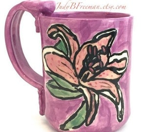 Ceramic Stoneware Mug Stargazer Lily Flower Cup  Wheel Thrown Kitchen 13 ounces Ready to Ship on Orchid MG0022 Gift for Mom
