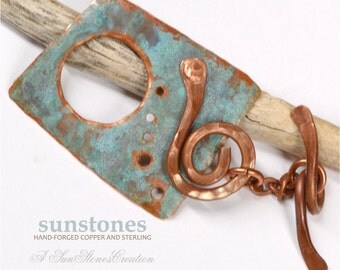 Handmade Rustic Copper Toggle Clasp TC552