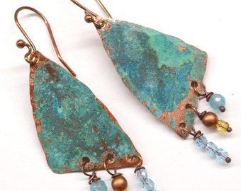 Rustic Copper Earrings E789