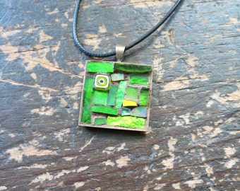 Colorful Lime Green Mosaic Pendant