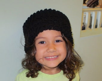 Girls Comfy Black Knitted Hat