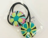 Fabric covered button ponytail holders / pony O / hair tie : Bright Flowers