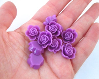 10 15mm Purple Rose Cabochons