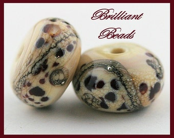 Snow Leopards...Ivory and Brown Glass Bead Pair - Handmade Lampwork Beads SRA, Made To Order