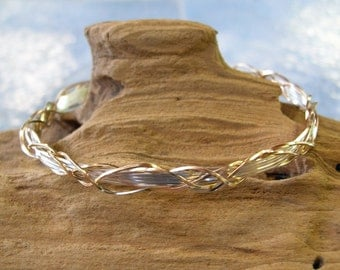 Amazing Grapevine Style Two-Tone Wire-Wrapped Bracelet