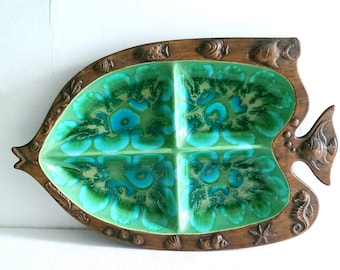 Vintage Treasure Craft Turquoise Ceramic Fish Serving Platter Chip and Dip Vegetable Tray