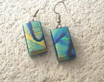 Blue Green Gold Earrings, Dichroic Earrings, Dangle Drop Earrings,Dichroic Jewelry, Nature Jewelry, Glass Earrings, Glass Jewelry 101615e102
