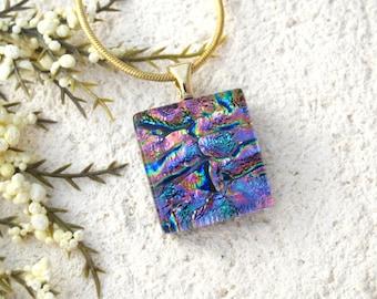Petite Pink Purple Gold Necklace, Dichroic Jewelry,Fused Glass Jewelry, Petite Pendant, Gold Necklace, Dichroic Necklace Pendant 122115p106