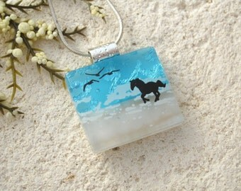 Beach Horse Necklace, Dichroic Necklace, Equestrian, Dichroic Jewelry, Fused Glass Jewelry,Dichroic Pendant, Chain Included, 080816p108