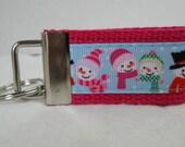 Snowman Small Key Fob - Mini Snowmen Key Chain - Snowman Zipper Pull - Snowman Key ring - Small Keychain - Snowman - Winter - PINK