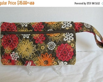 40% Off Fall Quilted Wristlet - Brown Red Orange Floral Print - Wrist Style Purse - Wallet with Strap - Cellphone Purse - Fall Small Purse