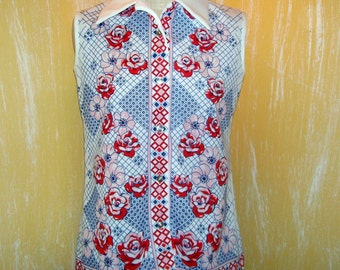 Rose Polyester Shirt Vintage Sleeveless Mod Print Double-knit Floral Design Hipster Hippie Pointy Collar 1970s Adult M L 36 Smartique Shirt