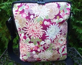 Asian flowers shoulder bag, zippered shoulder bag, cross body bag, Asian Mums, The Fox