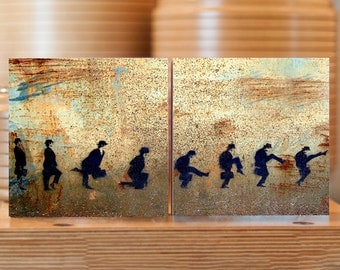 Stencil Graffiti Photo: Wooden Block Ministry of Silly Walks Monty Python 14.5cm square freestanding, stacking, home decor, plywood