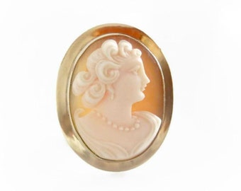 Vintage Cameo Pendant Brooch, Antique Shell Cameo, Victorian Cameo Jewelry, Vintage AMCO Jewelry