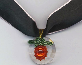 Red and Green Beadwork . Beadwoven Fruity Pendant . Choker Necklace . OOAK Valentine Necklace - Black Silk Choker by enchantedbeads on Etsy