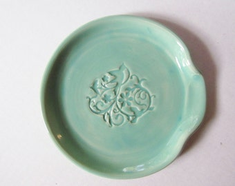 Spoon Rest - Ladle Rest - Glazed in Mint Green - Ready to ship