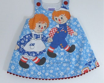 Raggedy Ann & Andy Girls Dress, Baby Dress, Toddler Dress, Girls Dress, Girls Dresses, Cartoon Dress, Nostalgia, Size 12 - 18  Months and 2T
